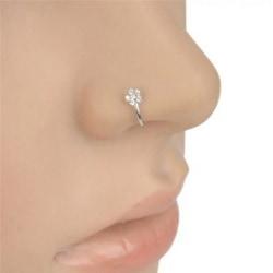 1st Liten tunn tunn rhinestone blomma näsa ring charm näsa rin