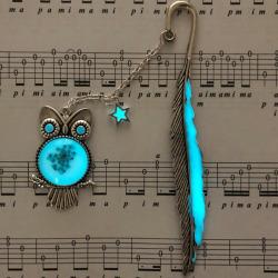 1X Luminous Night Owl Bookmark Label Read Maker Feather Book Mar onesize