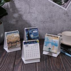 2021 Oil Painting Series Mini Desk Calendar Retro Office Home Ac B