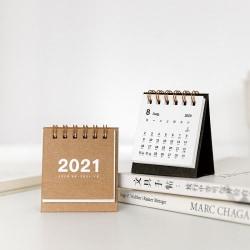 2021 Simple Solid Color Series Desktop Calendar Double Scheduler Red