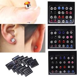 24Pcs/Set Magnetic Non-Piercing Clip Round Rhinestone Stud Earri White 3mm