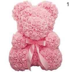 25cm Rose Bear Artificial Flower Rose of Bear Christmas Decorati Light pink 25cm