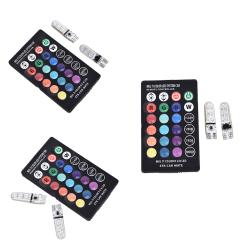 2pcs T10 5050 W5W 6 SMD Remote Control RGB LED Car Dome Reading  1pcs