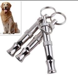 2x Dog Puppy Adjustable Whistle Ultrasonic Sound Key Chain Train