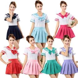 3Pcs Japanese School Uniforms Anime COS Sailor Suit JK Students  Navy L