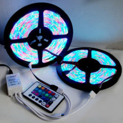 5M 3528 SMD RGB 600LEDs LED Strip Lights Lamp 24Key IR remote Co one size