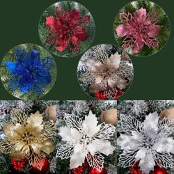 5PCS Artificial Christmas Flowers Glitter Fake Flower Christmas White