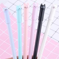 5pcs Mixed Colours New Cute Cat Gel Pen Black Ink Pen Kawaii Sta 0 0