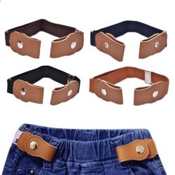 Boys Girls Buckle Free Stretch Belt Jeans Waistband Waist Belt A Brown