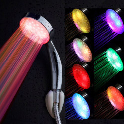Colorful Head Home Bathroom 7 Colors Changing LED Shower Water F