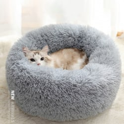 Comfy Calming Dog/Cat Bed Round Super Soft Plush Pet Bed Marshma Dark gray M