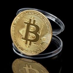 Kreativ Souvenirpläterad Bitcoin Collectible Stor presentbit Coi Gold