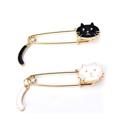 Cute Black White Cats Oil Drop Exquisite Brooch Pins Fashion Wom White One Size