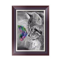 DIY 5D Diamond Embroidery Cat Butterfly Painting Cross Stitch Cr 30*40cm