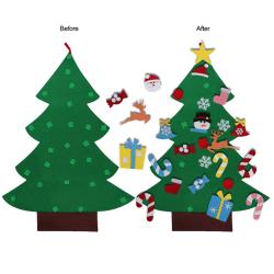 DIY Felt Christmas Tree Set With Ornaments Xmas Gifts Wooden Ha onesize
