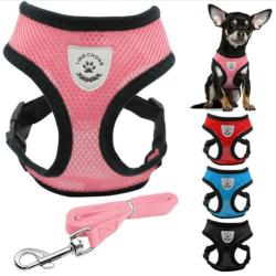 Dog Pet Adjustable Harness and Leash Set pet harness straps For  M black