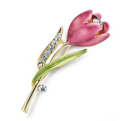 Elegant Tulip Flower Brooch Pin Rhinestone Crystal Clothes Acces Gold 5cm*1.5cm