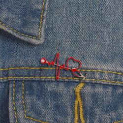 Enamel Love Heart Heartbeat Shape Brooch Collar Badge Pins Jewel 1Pc