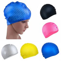 Fashion Adults Waterproof Silicone Stretch Swim Long Hair Cap Ha Black