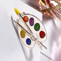 Fashion Brooch Colorful Enamel Artist Palette Pin Corsage Brooch Multicolor