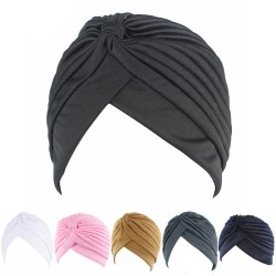 Fashion Men Women Stretchable Soft Indian Style Turban Hat Head  Black