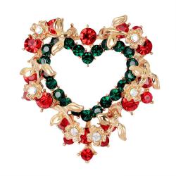 Fashion Unisex Heart  Garland Rhinestone Snowman Christmas Brooc Multi One Size