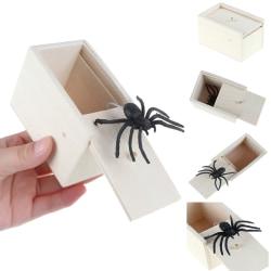 Funny Wooden Spider Box Hidden in Case Joke Gag Toy Halloween Gi one size
