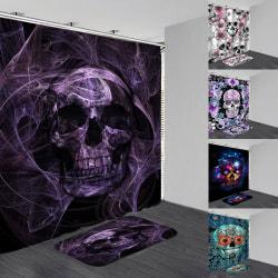 Halloween skull Waterproof Shower Curtain Anti slip Bath Mat Ba A 180*200 curtain