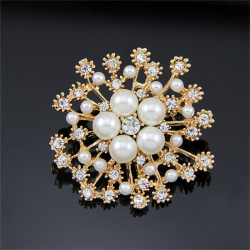 Hot Pearl Rhinestone Crystal Vintage Flower Brooch Pin Brooches  Silver One Size