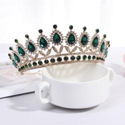 Luxury Green Crystal Baroque Diadem Rhinestone Bridal Crowns Pag one size
