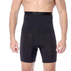 Men's Compression High Waist Slim Shorts Tummy Body Contour Shap Black 3XL