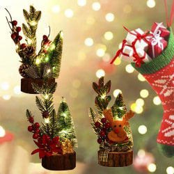 Mini Wooden Led Christmas Tree Desk Table Decoration Gift Cute X