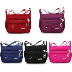 Multi Pocket Shoulder Bag Corss-body Purse Waterproof Nylon Trav Black