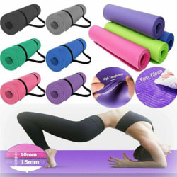 New 10mm Thick Non-Slip Yoga Mat Pad Exercise Fitness Purple one size