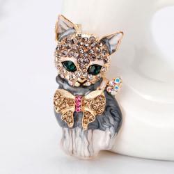 New Enamel Crystal Green Eye Cartoon Cat Brooch Pin Jewelry Bag  Multicolor