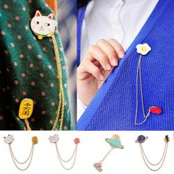 New Fashion Cute Egg Cat Moon Rabbit Chain Brooch Badge Pin Coll 1