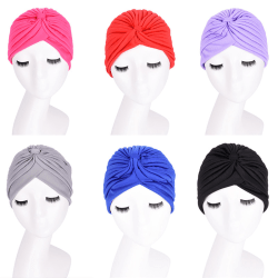 New Fashion Unisex Indian Style Stretchable Turban Hat Hair Head Black 24cm