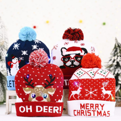 New Led Christmas Beanie Knit Hat Light Up Tree Xmas Snowman Kni Oh deer