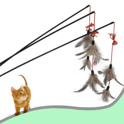 NEW Steel Wire Kitten Cat Toy Feather Rod Teaser Bell Play Pet D