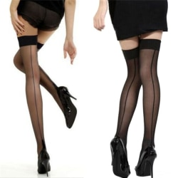 Quality Girl Lady High Stockings Seamed Long Over Knee Heal Seam Black