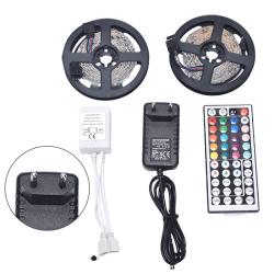 RGB SMD 3528 10M 600LED Strip Light With 12V Adapter Plug 44Key EU