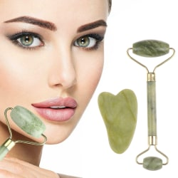 Roller and Gua Sha Tools by Natural Jade Scraper Massager with  Double-ended roller (1Pc)