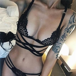 Sexiga damunderkläder ihåliga bandage spetsar sexiga underkläder kostym Black L
