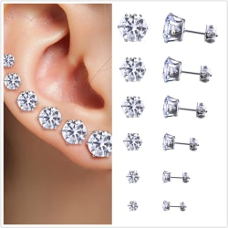 Stainless Steel Round Womens Stud Earrings Cubic Zirconia Inlaid White Set