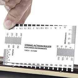 Steel String Action Gauge Ruler Guide Setup Measuring Luthier fo silver