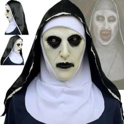 The Horror Scary Nun Latex Mask w / Headscarf Valak Cosplay för H onesize