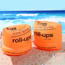 Thick Inflatable Armbands Water Sleeves Arm Ring Round Cuff Swim Orange