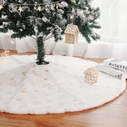 White Plush Snowflake Christmas Tree Skirt Christmas Decoration Multicolor