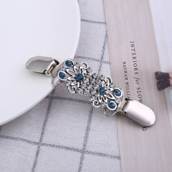Women Cardigan Sweater Blouse Shawl Clips Brooch Shirt Collar Du Silver
