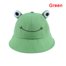 Women Fashion Frog Bucket Hat Outdoor Beach Fishing Cap Sunscree Green 56-58cm
